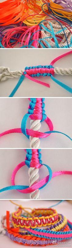 pulsera cuerda y cintas
