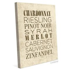 Click Wall Art List of Wine Textual Art on Wrapped Canvas in Beige Size: