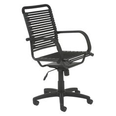 Euro Style Bungie Flat High Back Office Chair Black/Graphite Black - EUS1235-3