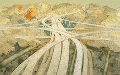 Many Rivers, 2009  Inlaid maps, acrylic, on panel  48 x 78 inches, Matt Cusick
