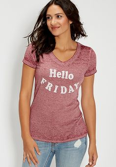 burnwash tee with Hello Friday graphic | maurices