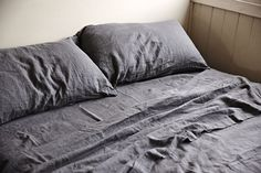 100% Linen Flat Sheet in Charcoal   IN BED Store