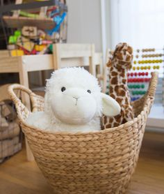 Cute toys belong in cute containers like this wicker basket. Find more inspiration from @bevweidner in her Making Home story. http://bit.ly/MakingHome #MakeHomeYours