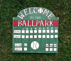 Small Antiqued Baseball Scoreboard by TheBlueEyedButterfly on Etsy, $30.00