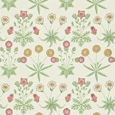 Daisy Wallpaper from William Morris Archive Wallpapers 2 Collection. A simple and classic floral patterned wallpaper featuring pink, light beige and golden brown flowers on a cream background. Best Flower Wallpaper, Daisy Wallpaper, Fabric Wallpaper, Wallpaper Backgrounds, Classic Wallpaper, Brown Flowers, Wallpaper Online, 4k Hd, Art Nouveau