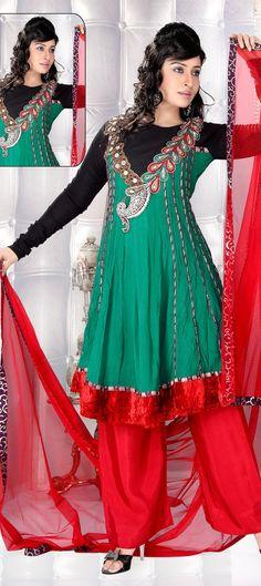 Short-anarkali style salwar-kameez....Faux-georgeete fabric   Available at-> http://www.indianweddingsaree.com/SalwarProduct/86456.html
