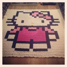 Hello Kitty pixel crochet blanket by Lianne de Vries
