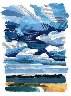 Sky over the bay collage with torn magazine pages. Love the stormy looking blue clouds! Paper Collage Art, Collage Art Mixed Media, Love Collage, Magazine Collage, Magazine Art, Theme Nature, Newspaper Art, Middle School Art, Art Classroom