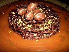 Caramel Cake with Chocolate Nest