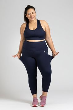 Smart Pocket 7/8 Length Tight - Navy – Active Truth™ Tights, Leggings, Full Body, Perfect Fit, Sporty, Poses, Crop Tops, Navy, How To Wear