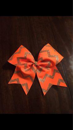 3 inch cheerleader cheer bow neon orange & sparkly by 2girls2Tus