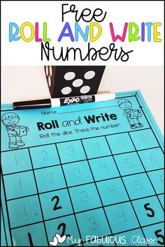I hope you enjoy this FREE Roll and Write Numbers dice game. You can print off multiple copies to be used with pencils or print out a few and laminate for an easy center. Writing Activities For Preschoolers, Kindergarten Math Activities, Preschool Math, Kindergarten Classroom, Math Games, Numbers Kindergarten, Numbers Preschool, Teaching Kids To Write, Math Crafts