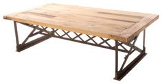 Riveter's Industrial Modern Chunky Wood Coffee Table - eclectic - coffee tables - by Kathy Kuo Home
