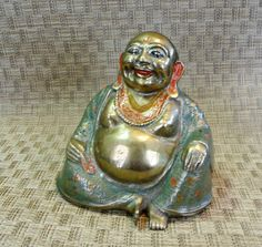 Vintage Cloisonne Brass Happy Buddha ~ Sitting Smiling Lucky God Figure ~ Hand Carved Detail ~ Enameled / Painted Asian Oriental Art by EclecticJewells on Etsy