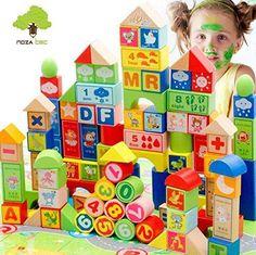 100PCS Alphabet Blocks Wooden ABC Toddler ABC/123 Blocks Set