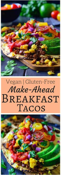 This recipe for vegan egg and chorizo tacos is not only quick and easy to put together, they also freeze well for make-ahead vegan breakfast tacos any day of the week.