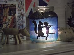 Side two of winter candle jar craft