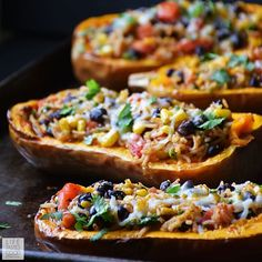 Stuffed Butternut Squash | by Life Tastes Good is a meatless meal packed full of fresh flavors inspired by Mexican cuisine. This recipe comes in a handy bowl you can eat too! #LTGrecipes