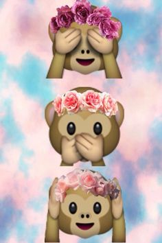Cute monkey emoji wit flower head band