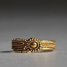 Etruscan jewelry: rings were worn more by women then by men. Jewelry was either imported from abroad or from the local area.