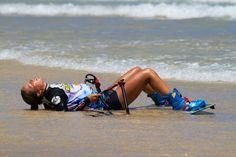 Relaxing after her ride on Kiteboarding World Championship Fuerteventura
