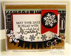Handmade Christmas card by Susan Liles using the Merry & Bright and Holiday Greetings sets from Verve.  #vervestamps