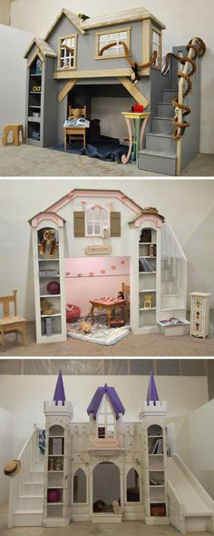 When most people think of fun furniture for their children, they think of either a themed bed or bunk bed, or a fun indoor playhouse. But what if a design could be both? All of our bunk bed designs can become loft beds or even full playhouses, just like the Clubhouse, Castle, and Dollhouse shown here. Click to see our full selection of boys and girls beds. #childrensindoorplayhouse