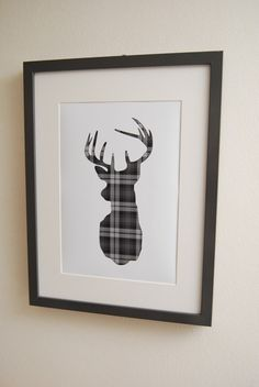 Cute idea to add more subtle plaid. Could use this idea for any silhouette in any tartan.cut large as you can on cricut from plaid paper and frame! New Living Room, My New Room, Living Room Decor, Bedroom Decor, Tartan Crafts, Tartan Decor, Cerf Design, Style Cottage, Decoration Entree