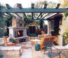 Pergola Patio - fireplace as a corner column...