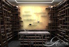 Cave à vin à usage résidentiel / sous plan / en bois / sur mesure - CUBE - Genuwine Cellars