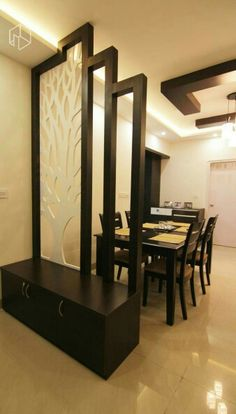 Wooden partition designs between living dining google - Curtain ideas for living room india ...