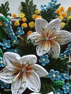 Картина панно рисунок Квиллинг Вальс цветов Бумажные полосы фото 3