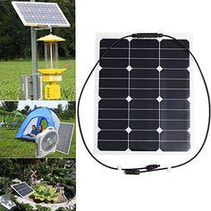 KING DO WAY 35W 18V Panneau Solaire Portable Imperméable Pour Camping Voyage Voiture Moto Jardin Bricolage Panel Solar Noir 510mmX410mm: Le…