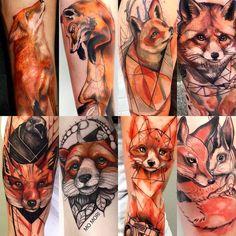Foxtattoo fox Watercolor geometric art sketch color