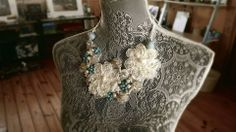 The Wedding Necklace, Victorian Lace, Embedded turquoise beads with pearl. Flower Lace Design for Bridal or Formal wear. By- Simple Creations By Sam- https://www.facebook.com/SimpleCreationsBySam