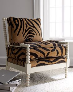 Fallon Hairhide Chair - Old Hickory Tannery (Four-legged Luxury Chair / ottoman Wood Leather Fabric Modern Pattern White Black Brown Living room) Cool Furniture, Living Room Furniture, Old Hickory Tannery, Comfortable Accent Chairs, Chair And Ottoman, Armchair, Cool Chairs, Living Room Chairs, Bellisima