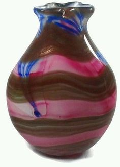 "Unique Murano Glass Vase Aventurine 24 kt Gold Pink White Stripe Cobalt 10.5"" Lg"