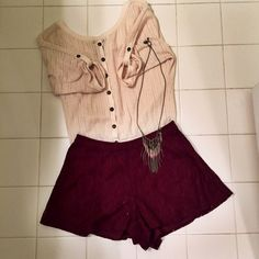 Forever 21 lace maroon shorts Lacy maroon fashion shorts from Forever 21. Lightly worn. Very comfortable. Side zipper Forever 21 Shorts
