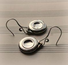 flute key silver circle earrings! Yay! recycled musical instrument jewelry!