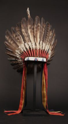 Warrior's headdress | Plains Indians or Great Basin (USA) | Eagle feathers, fabric and beads | ca. 1870 - 1880