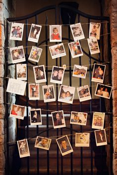 photo wall at wedding- use printmaking paper and stitch into photos to create a unique look! #welcometogirlworld » Wedding