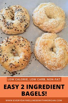 Healthy, easy 2 ingredient bagels! These bagels are lower carb, and higher protein than regular store bought bagels. Each bagel is less than 150 calories yet so fluffy and soft! You can also use the dough to make pizza crust and garlic knots! (Easy bagel recipe, healthy bagel, healthy breakfast, low carb recipe)