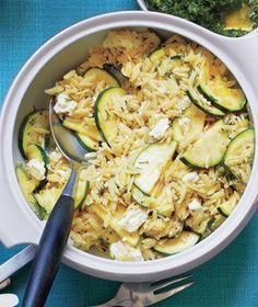 Orzo Salad With Zucchini and Feta - cut back on the salt. Did Zucchini matchsticks instead of half moons. awesome!