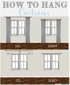 Thursday's Tips & Tricks: How to Hang Curtains. Home decorating ideas - How to hang curtains, so many great tips. living room decor farmhouse You can find out more details at the link of the image. Hanging Curtains, How To Hang Curtains, Bedroom Curtains, Curtains On Small Windows, Diy Curtains, Diy Bedroom, Diy Curtain Rods, Decorative Curtains, Floor To Ceiling Curtains