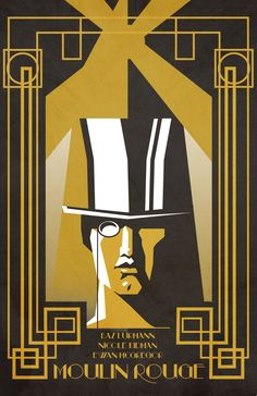 art deco furniture Moulin Rough Movie Poster by Michael Scarso, via Behance Arte Art Deco, Motif Art Deco, Estilo Art Deco, Art Deco Design, Poster Café, Kunst Poster, Movie Poster Art, Furniture Top View, Art Deco Furniture