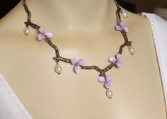 Flower Choker - Hand Painted Nature Necklace w/ Freshwater Pearls - Faerie Lilac Blossom and Branch Necklace - Elven Woodland Jewelry