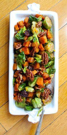 Orange Glazed Butternut Squash and Brussels Sprouts #recipe ~~ gluten free side dish