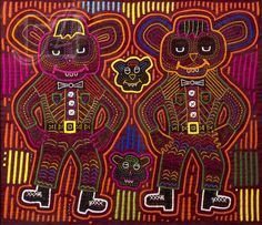 20th C. Kuna Dancing Bears Panamanian Mola