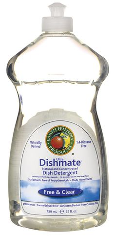 Earth Friendly Products Clear Dishmate - Free & Clear. Biodegradable, plant-based, free of palm oil. Can also be used as liquid hand soap, bath/shower soap. Available @ Well.ca