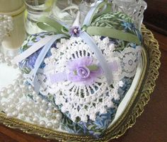 Heart Sachet  Sachet Heart Blue Green Lilac by CharlotteStyle, $13.00